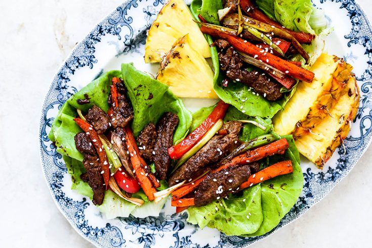Spicy Pineapple Beef Lettuce Wraps