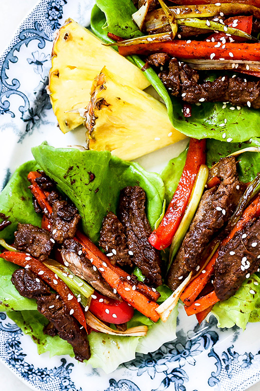 Spicy Pineapple Beef Lettuce Wraps | www.floatingkitchen.net