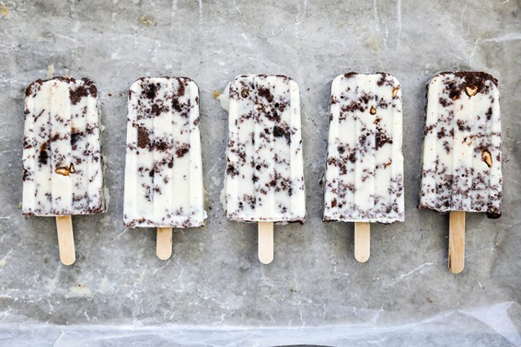 Gluten-Free Vanilla Cream Popsicles with Brownie-Toffee Crunch