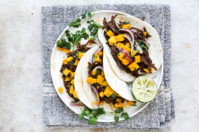 Slow Cooker Chipotle Barbecue Beef Tacos with Mango Salsa | www.floatingkitchen.net