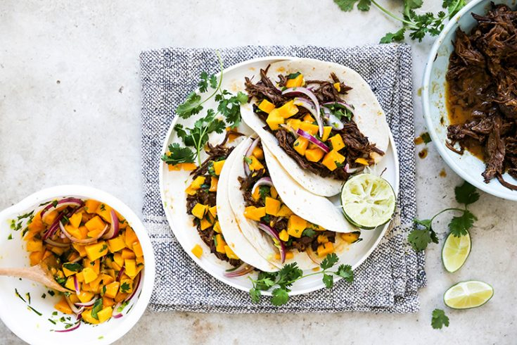 Slow Cooker Chipotle Barbecue Beef Tacos with Mango Salsa