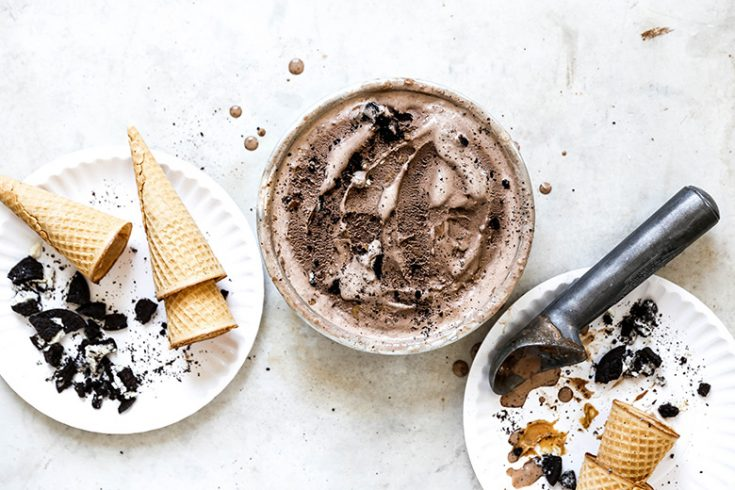 Chocolate Cookies and Cream Ice Cream with Peanut Butter