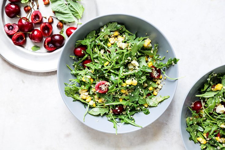 Cherry, Corn and Arugula Salad with Quinoa and Blue Cheese