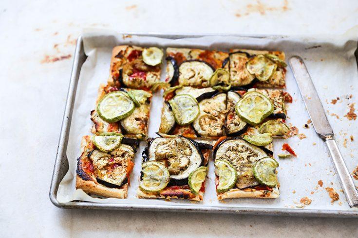 Eggplant and Summer Squash Tart with Goat Cheese and Tomato-Shallot Jam