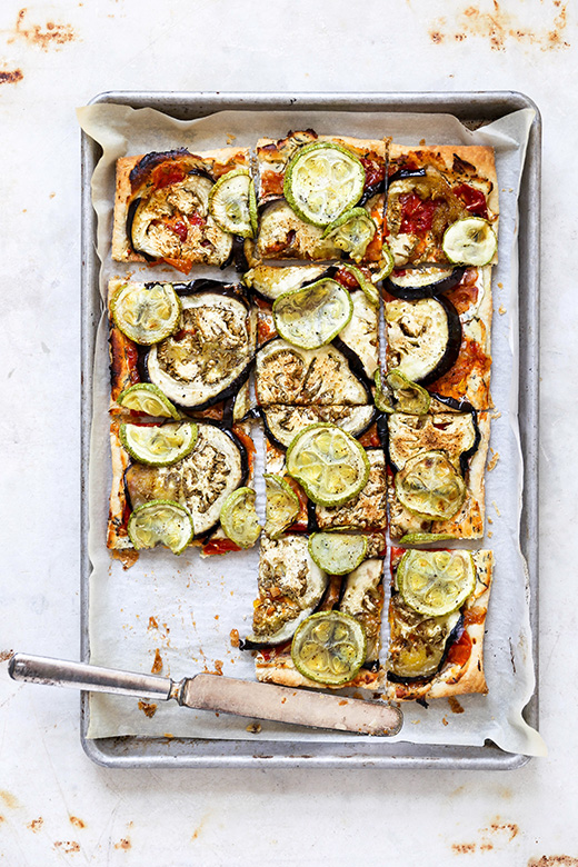 Eggplant and Summer Squash Tart with Goat Cheese and Tomato-Shallot Jam | www.floatingkitchen.net