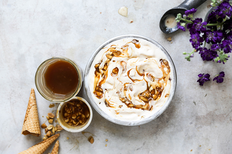 Sweet Corn Buttermilk Ice Cream with Salted Caramel and Peanut Swirl | www.floatingkitchen.net