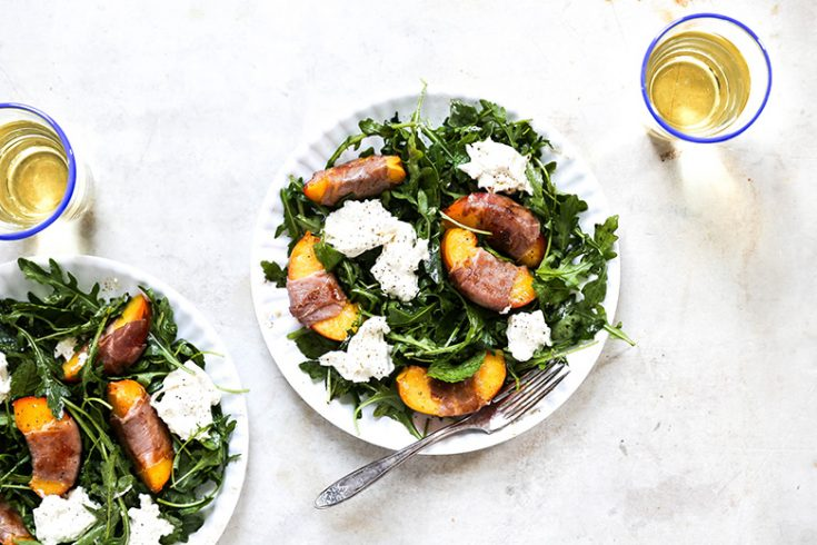 Prosciutto-Wrapped Peach and Arugula Salad