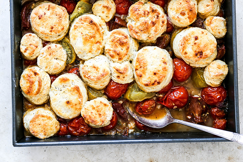 Savory Tomato Cobbler with Blue Cheese Biscuits | www.floatingkitchen.net