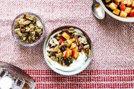 Apple Harvest Yogurt Bowls with Maple-Nut Clusters | www.floatingkitchen.net