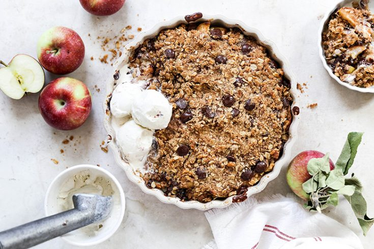 Apple Crisp with Ginger and Dark Chocolate