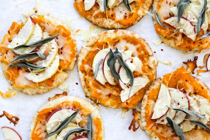 Butternut Squash and Apple Pita Bread Pizzas with Cheddar Cheese and Sage