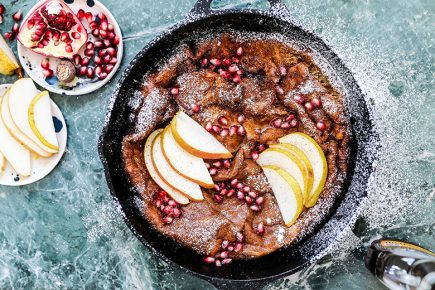 Eggnog Dutch Baby Pancake with Pears and Pomegranate | www.floatingkitchen.net