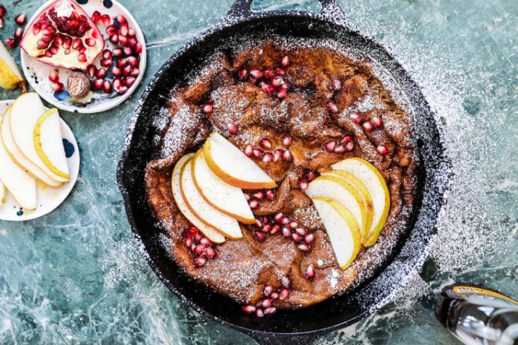 Eggnog Dutch Baby Pancake with Pears and Pomegranate