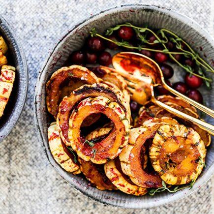 Maple Roasted Delicata Squash with Cranberry Glaze | www.floatingkitchen.net