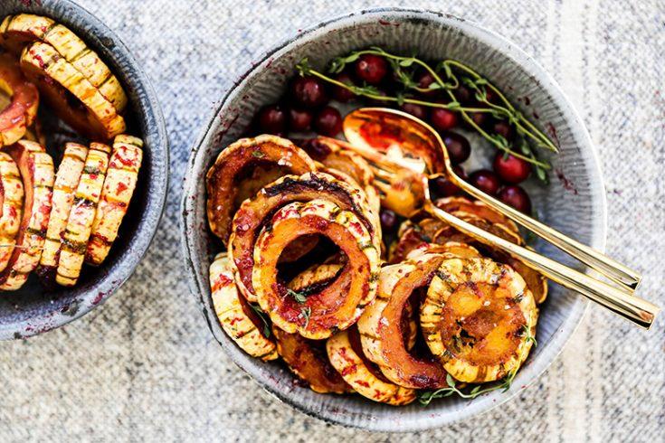 Maple Roasted Delicata Squash with Cranberry Glaze