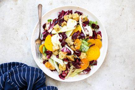 Rustic Winter Panzanella Salad with Orange-Ginger Vinaigrette | www.floatingkitchen.net
