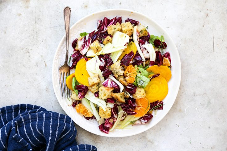 Rustic Winter Panzanella Salad with Orange-Ginger Vinaigrette