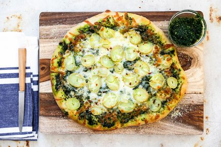 Potato Pizza with Kale Pesto | www.floatingkitchen.net