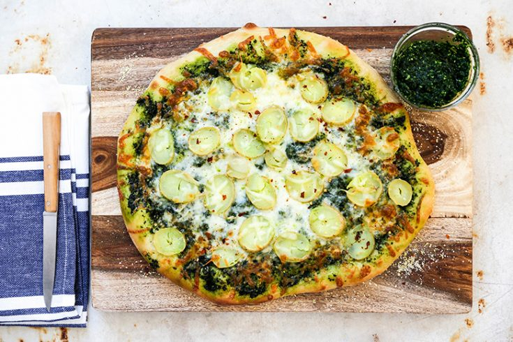Potato Pizza with Kale Pesto