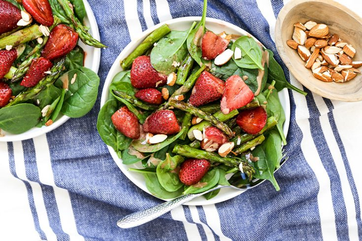 Roasted Strawberry and Asparagus Spinach Salad with Tahini Dressing