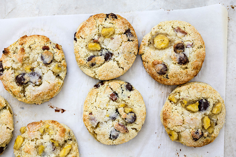 Banana Scones with Chocolate Chips and Almonds | www.floatingkitchen.net