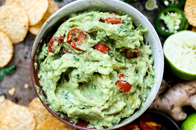Ginger Guacamole with Slow Roasted Tomatoes | www.floatingkitchen.net