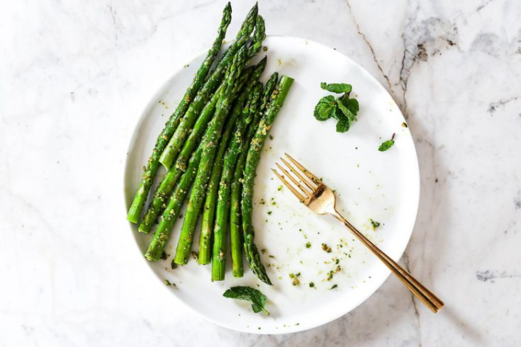 Roasted Asparagus with Vegan Pistachio-Mint Pesto