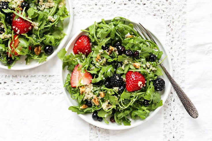 Triple Berry and Arugula Salad with Quinoa and Walnuts