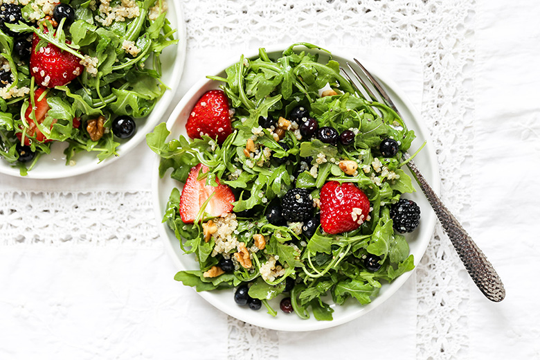 Triple Berry and Arugula Salad with Quinoa and Walnuts | www.floatingkitchen.net