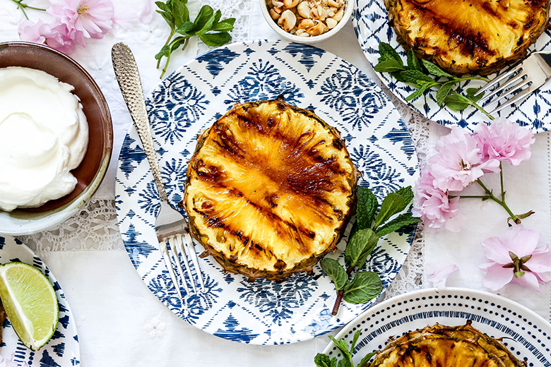 Grilled Pineapple with Coconut Whipped Cream | www.floatingkitchen.net