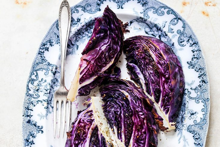 Roasted Red Cabbage Wedges with Za'atar