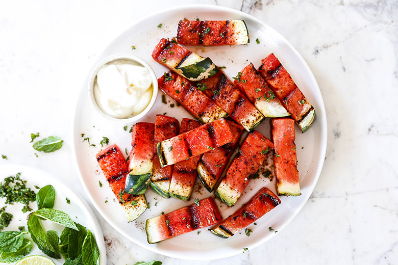 Spicy Grilled Watermelon with Honey-Yogurt | www.floatingkitchen.net