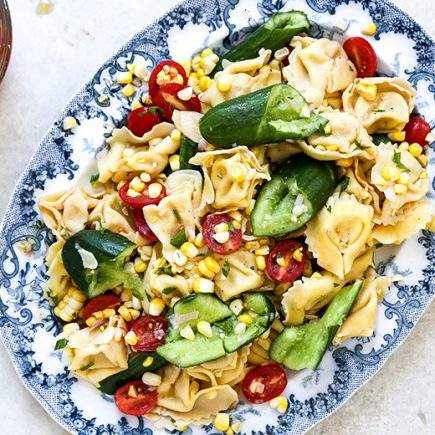 Tortellini and Smashed Cucumber Salad with Corn and Tomatoes | www.floatingkitchen.net