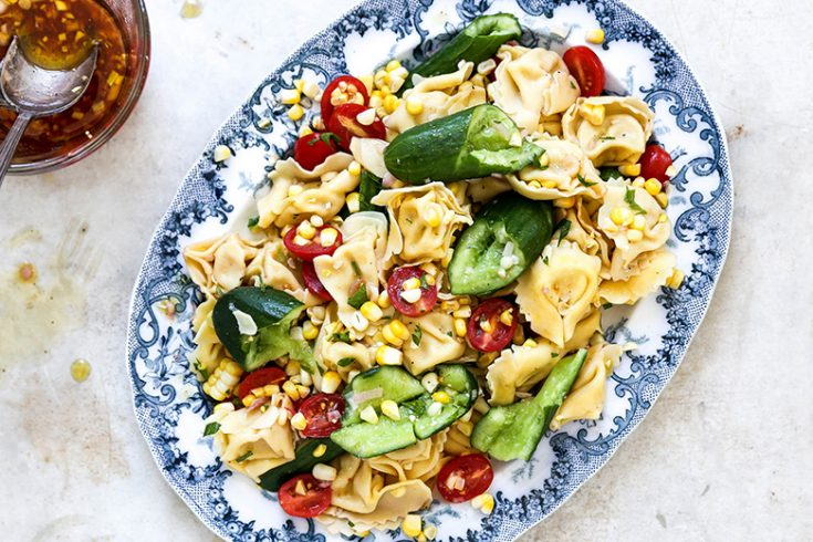 Tortellini and Smashed Cucumber Salad with Corn and Tomatoes