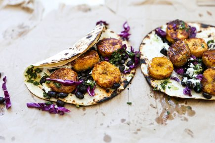 Plantain and Black Bean Tacos with Chimichurri Sauce | www.floatingkitchen.net