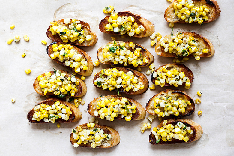 Buttery Toasts with Corn Salsa | www.floatingkitchen.net