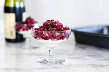 Red Wine Granita with Chocolate Flavored Whipped Cream | www.floatingkitchen.net