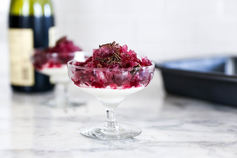 Red Wine Granita with Chocolate Flavored Whipped Cream   www.floatingkitchen.net