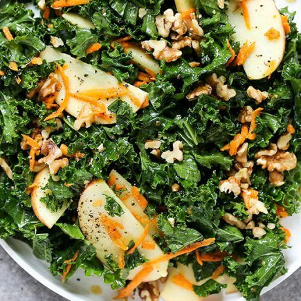 Everyday Kale and Apple Salad with Maple-Mustard Dressing | www.floatingkitchen.net