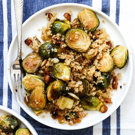 Roasted Brussels Sprouts and Leeks with Quinoa | www.floatingkitchen.net