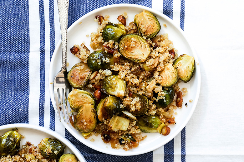 Roasted Brussels Sprouts and Leeks with Quinoa   www.floatingkitchen.net
