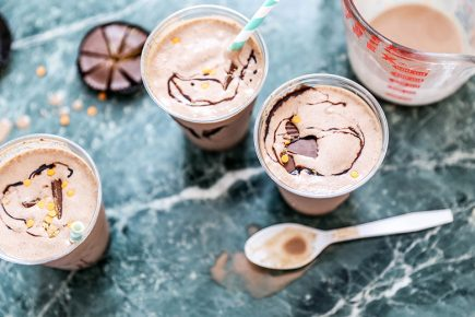 Pumpkin Peanut Butter Cup Milkshakes | www.floatingkitchen.net