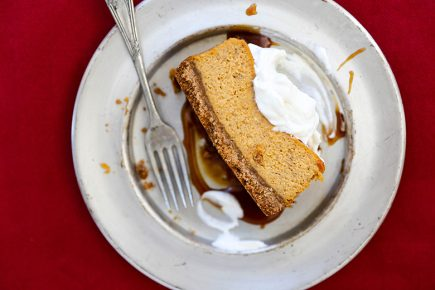 Small Batch Pumpkin Pie Cheesecake with Bourbon Whipped Cream | www.floatingkitchen.net