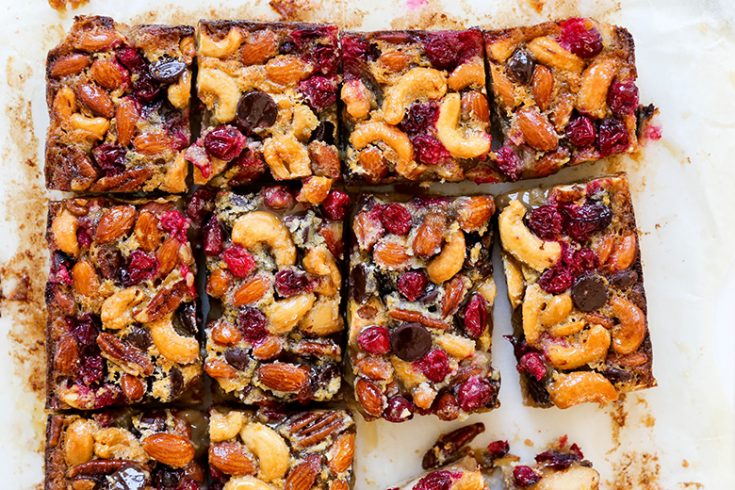 Salted Nut, Cranberry and Chocolate Bars with Brown Sugar Cookie Crust