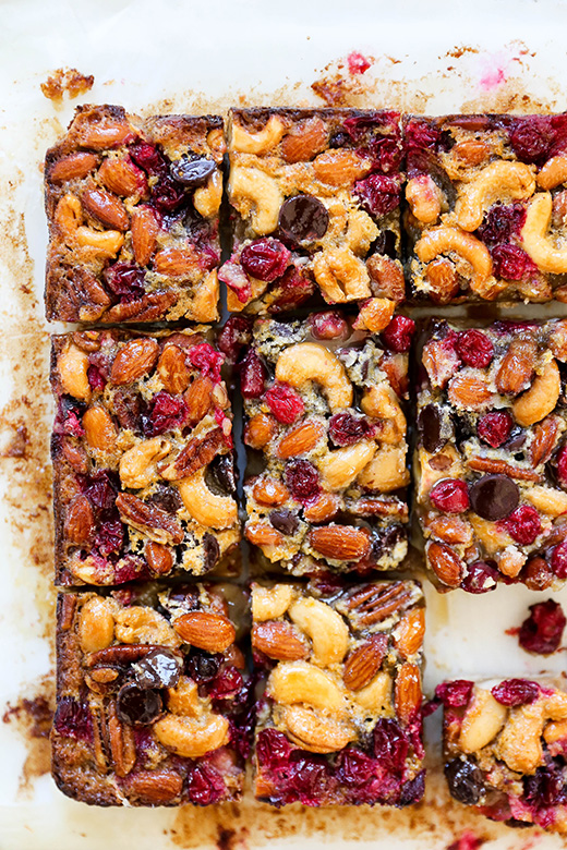 Salted Nut, Cranberry and Chocolate Bars with Brown Sugar Cookie Crust | www.floatingkitchen.net
