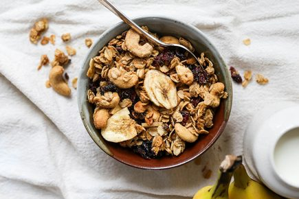 Vegan Cashew Granola with Banana Chips, Cranberries and Cacao Nibs | www.floatingkitchen.net