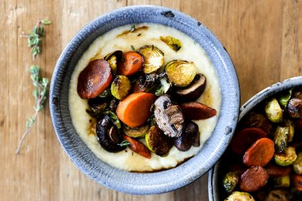 Coffee Glazed Roasted Vegetables with Mascarpone Polenta | www.floatingkitchen.net