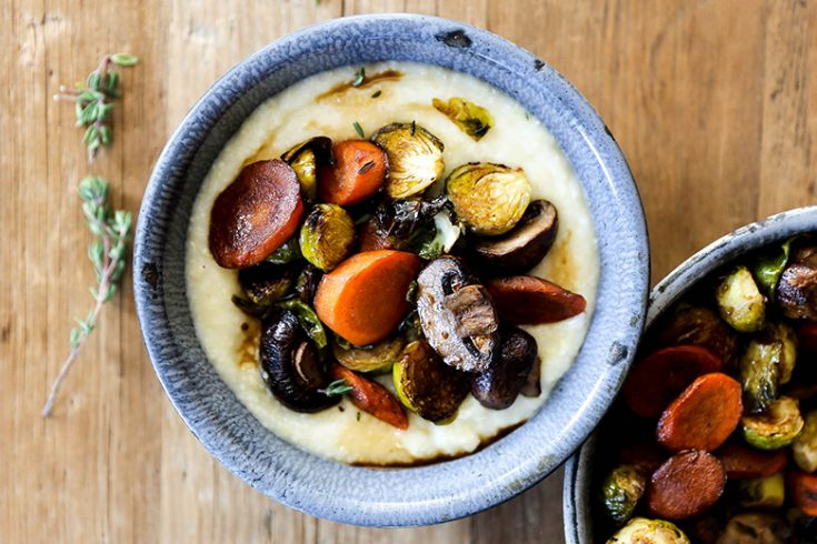 Coffee Glazed Roasted Vegetables with Mascarpone Polenta