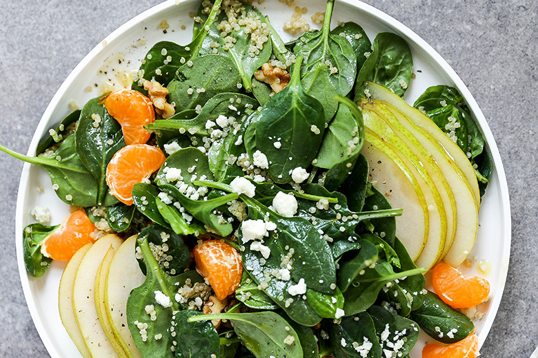 Spinach and Quinoa Salad with Pears and Oranges | www.floatingkitchen.net