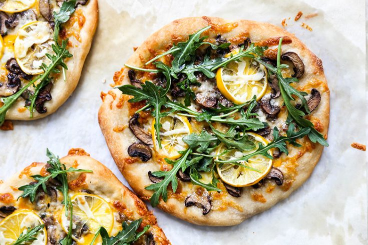 Individual Meyer Lemon, Mushroom and Arugula Pizzas